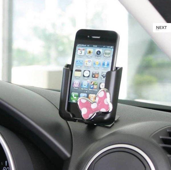 權世界@汽車用品 日本 NAPOLEX Disney 米妮 蝴蝶結 手機架 行動電話架 車架 支架 WN-10