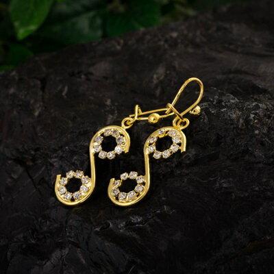 ~純銀耳環鍍18K金鑲鑽耳飾~ 細緻亮眼生日情人節 女飾品73cx58~ ~~米蘭 ~
