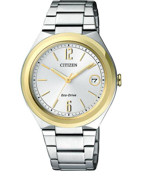 CITIZEN星辰FE6024-55A雙色纖薄大三針光動能女錶/白面35mm