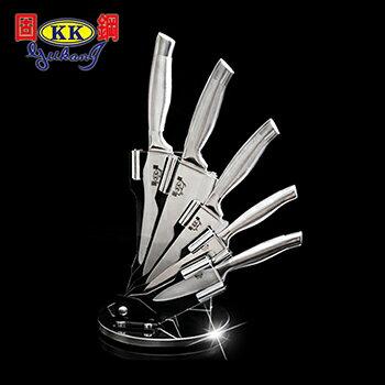 固鋼 第二代一體成型醫療級420不鏽鋼刀六件組(贈料理剪刀) 調理刀 料理刀 切片刀 廚刀 水果刀 萬用刀 420刃具級高級鋼材
