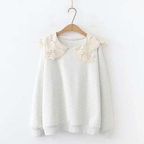 日系森女系花邊蕾絲領女式毛圈棉長袖衛衣(3色F碼)【OREAD】 1