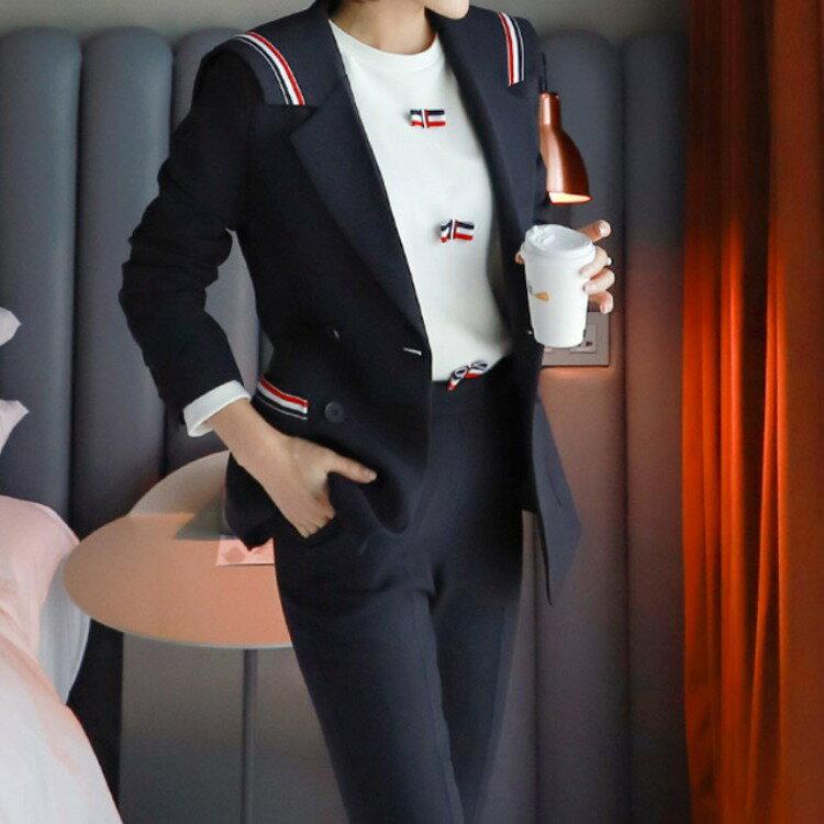 2021秋冬新款韓版修身拼接條紋西裝外套時尚職業女褲套裝女
