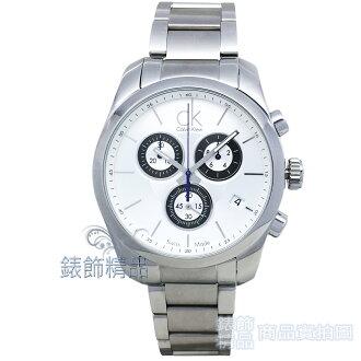 【錶飾精品】CK手錶 Calvin Klein錶 三眼計時碼錶日期白面鋼帶男錶K0K27120全新原廠正品
