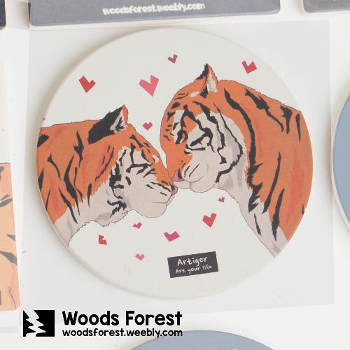 Woods Forest 木雕森林 - 陶瓷吸水杯墊【情侶虎】 聖誕交換禮物推薦
