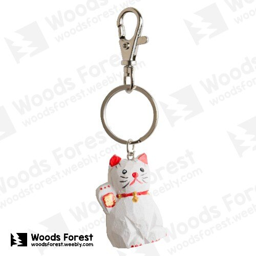 Woods Forest 木雕森林 - 木雕鑰匙圈【招財貓】(WF-K08)