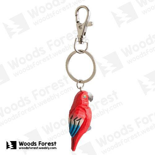 Woods Forest 木雕森林 - 木雕鑰匙圈【紅鸚鵡】