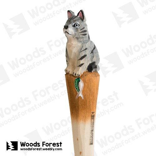 木雕森林 Woods Forest - 手工動物木雕筆【抓魚貓】(WF-P45)
