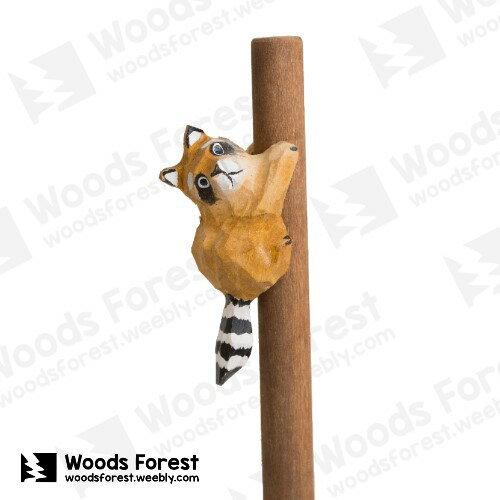 木雕森林WoodsForest-【浣熊】手工木雕筆動物造型原子筆(WF-P44)