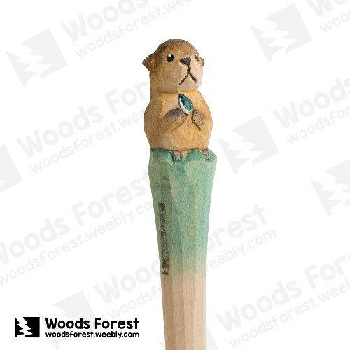 木雕森林 Woods Forest - 動物手工木雕筆【海獺】 (WF-P23)