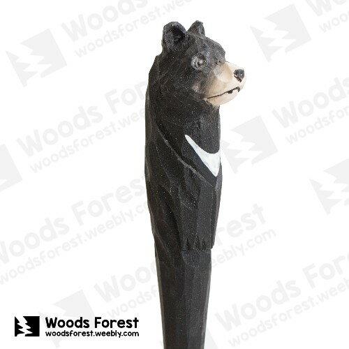 木雕森林 Woods Forest - 動物手工木雕筆【黑熊】(WF-P35)