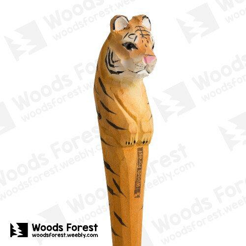木雕森林 Woods Forest - 動物手工木雕筆【老虎】(WF-P34) 聖誕交換禮物
