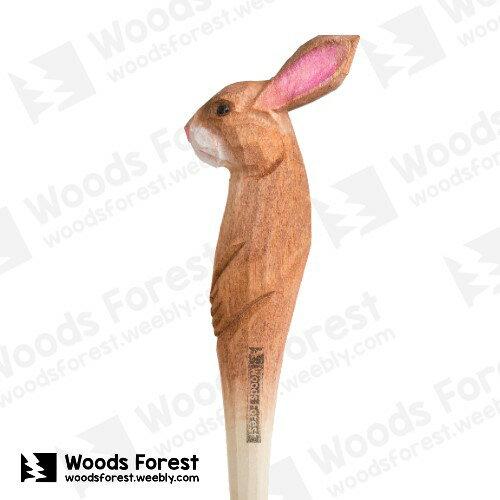 木雕森林 Woods Forest - 動物手工木雕筆【棕兔】(WF-P64) 聖誕交換禮物