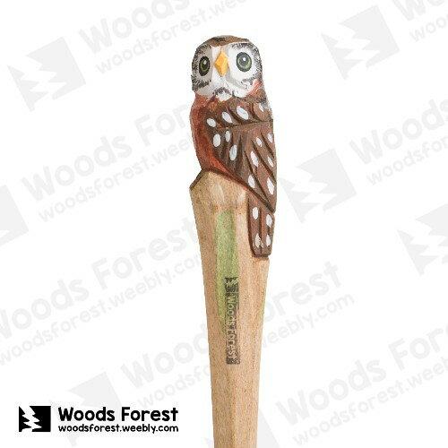 木雕森林 Woods Forest - 手工動物木雕筆【Q版貓頭鷹】( 筆質量輕;握筆輕鬆舒適;滑順好寫,用完可替換,實用且經濟!)