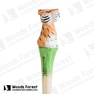 木雕森林 Woods Forest - 手工動物木雕筆【小老虎】(WF-P33)
