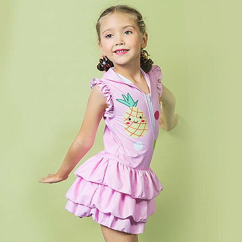 BOBI:兒童泳裝彩色點點拉鍊裙式連身連帽短袖兒童泳裝【SFC2019】BOBI1214