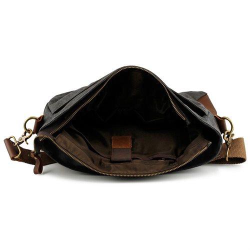 Men's Vintage Canvas Leather Satchel School Military Messenger Shoulder Bag Travel Bag - Gray 3