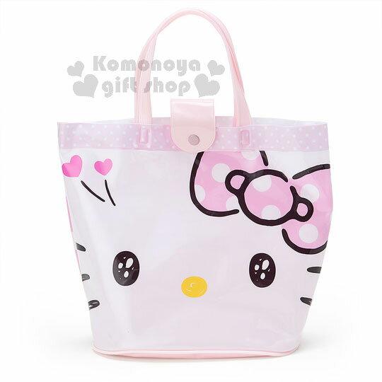 〔小禮堂〕Hello Kitty 防水手提水桶袋《粉白.大臉.愛心》2017清涼夏日系列