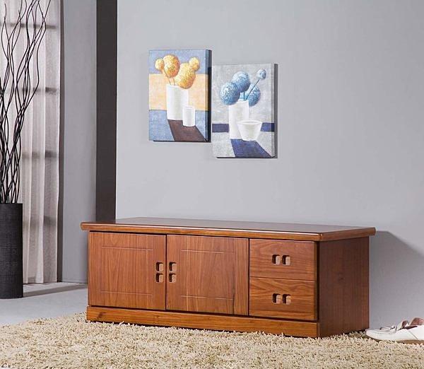 【尚品傢俱】347-02 樟木色半實木4尺坐鞋櫃收納櫃坐櫃鞋櫃矮櫃~另有5尺