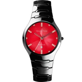 Relax Time RT-26-17B馬卡龍系紅黑陶瓷腕錶/紅面36.6mm