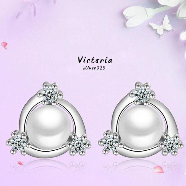 Victoria:S925銀唯美氣質珍珠耳環-維多利亞161246