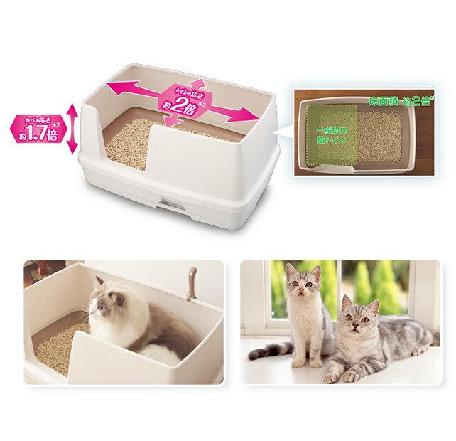 《日本Unicharm嬌聯》寬廣大雙層貓砂盆-抗菌除臭貓便盆 /  新款全配 2