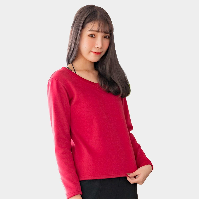 加大尺碼--保暖舒適百搭素色加絨V領長袖T恤上衣(黑.紅.咖.紫M-3L)-F162眼圈熊中大尺碼 0