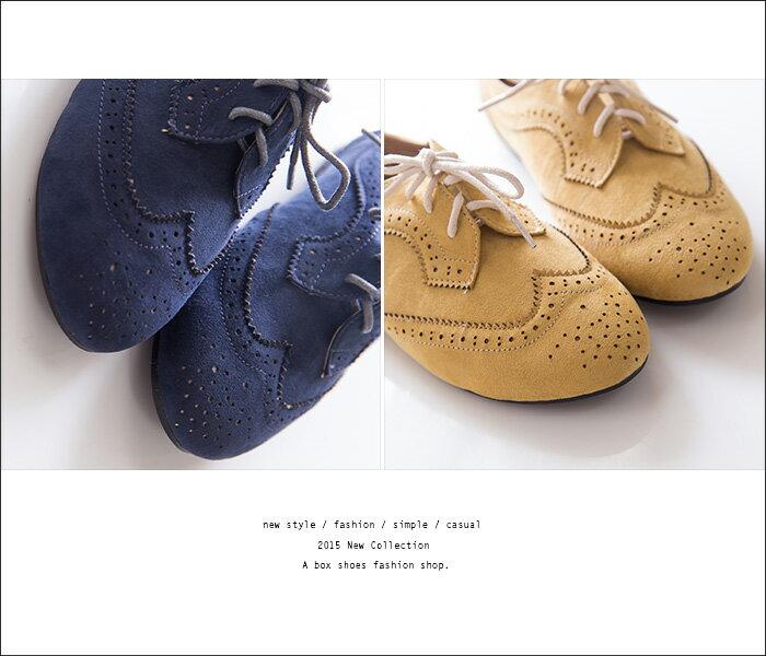 格子舖*【KR502-18】英倫雕花時尚學院風復古 質感麂皮繫帶牛津鞋 平底包鞋 3色(36-42) 2