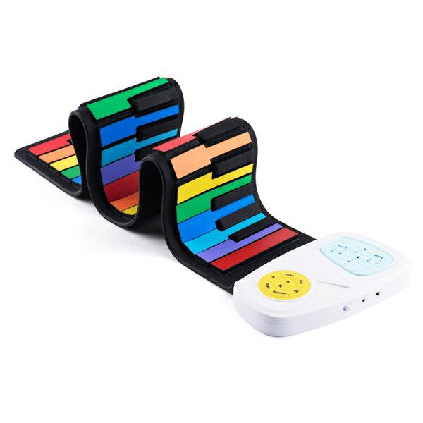 MEEKEE SHOP:meekee攜帶型49鍵高音質手捲電子琴-彩虹琴鍵(IP49)