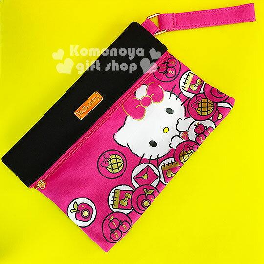 〔小禮堂〕Hello Kitty 棉質手拿包《桃黑.坐姿.筆記本.蘋果》附手腕掛帶