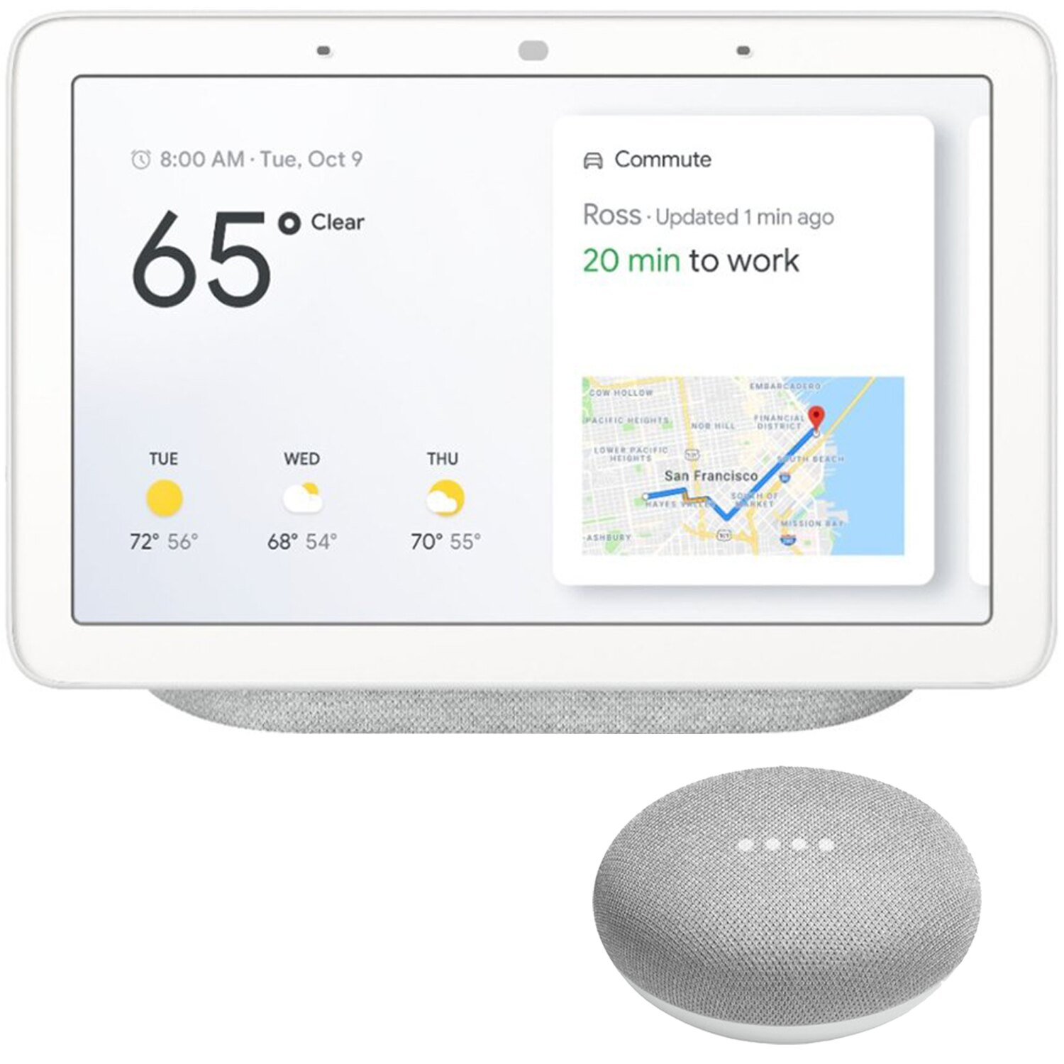 Google Home Hub with Google Assistant & Google Home Mini Home Smart Speaker  (Chalk)