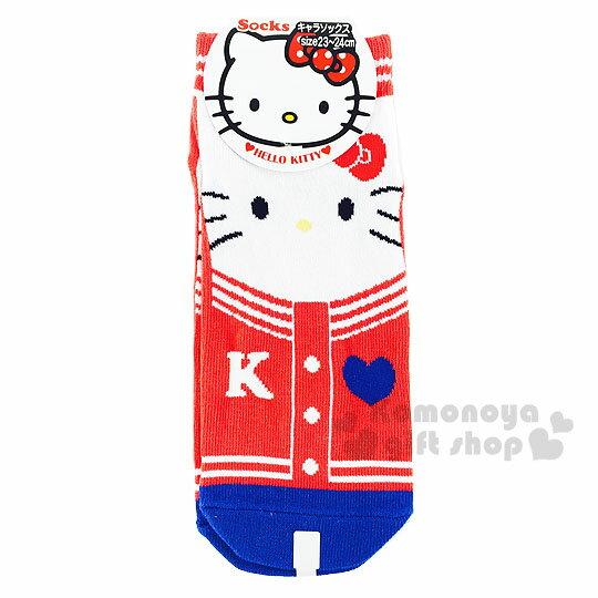 〔小禮堂〕Hello Kitty 成人及踝襪《紅藍.大臉.外套》適穿腳長23-24公分