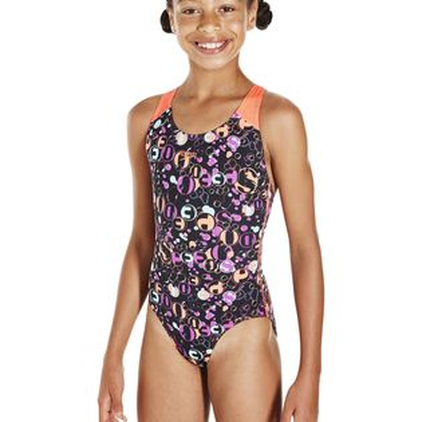 SPEEDO兒童連身競技泳裝SD807386C206黑橘(胸圍:60~75CM)[陽光樂活]