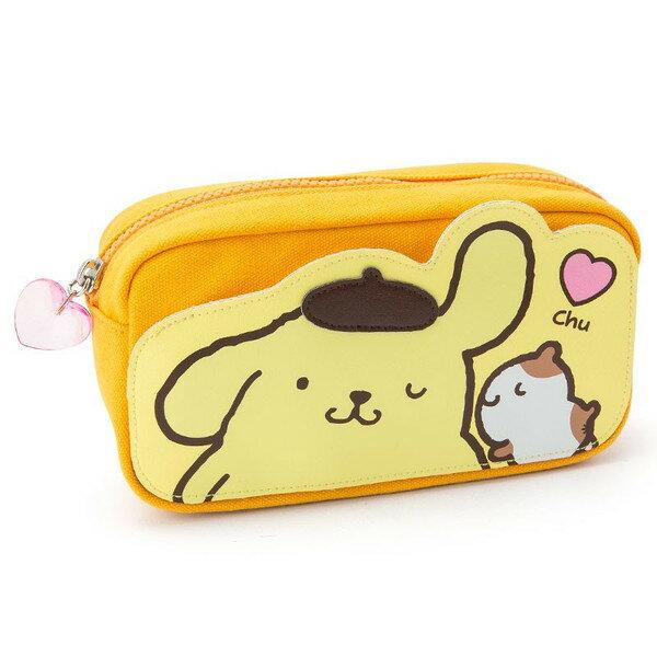 【真愛日本】16090100041  造型前袋寬口帆布化妝包-PN狗親親  三麗鷗家族 布丁狗    收納 筆袋