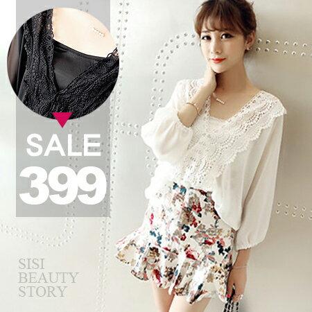 SiSi Girl:SISI【E6021】細肩吊帶內搭+深V領性感透視鏤空蕾絲雕花拼接雪紡衫上衣
