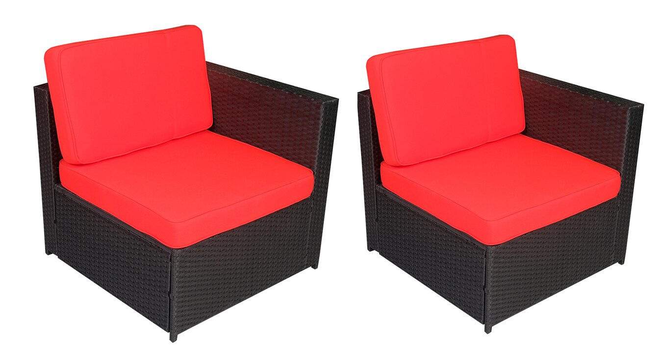 Mcombo Outdoor Rattan Wicker Sofa Couch Patio Furniture Chair Garden Sectional Set With Waterproof Cushions 6088