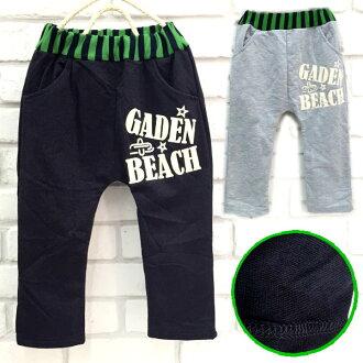 【班比納精品童裝】百搭字母GADEN BEACH毛圈棉褲-灰/黑-兩色可選【BB150807011/BB151024009】
