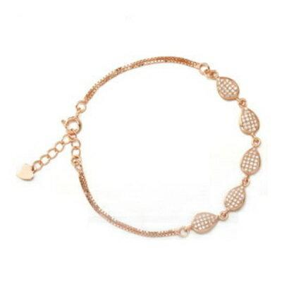 ~玫瑰金手鍊 鑲鑽純銀手環 ~ 氣質大方百搭情人節生日 女飾品2色73dl70~ ~~米蘭