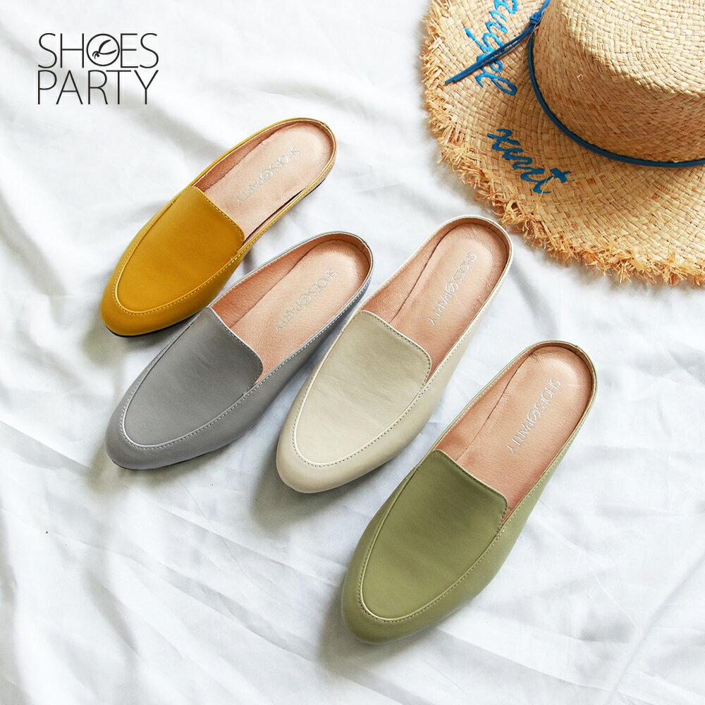 【S2-19518L】一套就走,素面真皮穆勒鞋_Shoes Party 0