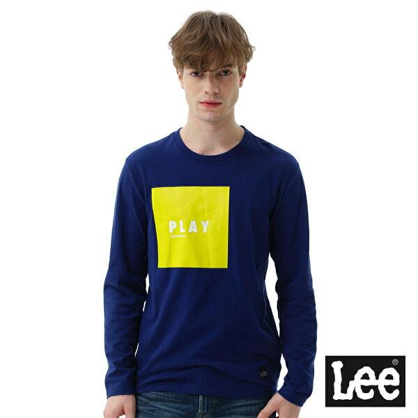 Lee Jeans tw:【2017秋冬新品全面8折】Lee方形膠印與直絨長袖圓領TEE-男款-藍色【單筆消費滿1000元全會員結帳輸入序號『CNY100』↘折100