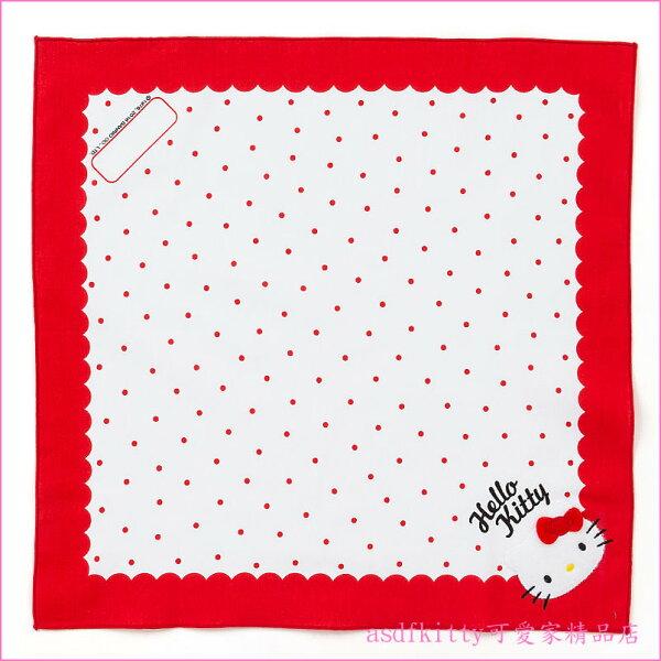asdfkitty可愛家☆KITTY紅水玉桌墊/餐墊/桌巾/大手帕-43*43公分-防止兒童弄髒桌子-日本製