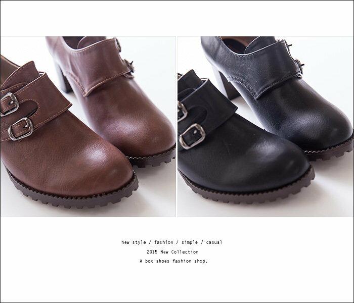 ★399免運★格子舖*【KW3366】MIT台灣製 韓版質感皮革 舒適魔鬼氈穿脫 舒適粗高跟 牛津踝靴短靴 2色 1