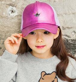 Kocotree◆時尚潮流亮粉皇冠透氣網層兒童鴨舌帽休閒運動棒球帽-紫色
