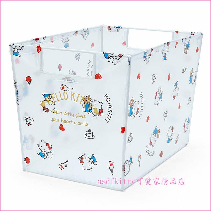 asdfkitty可愛家☆KITTY 長方型透明置物籃/收納箱/整理盒-開放式開口.好拿好放-日本正版商品