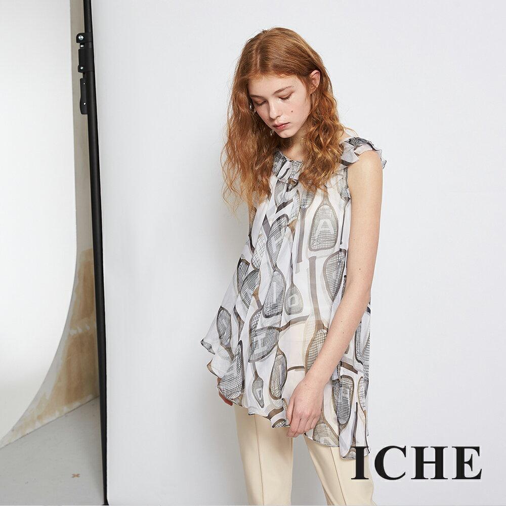 ICHE 衣哲 輕時尚印花荷葉雪紡紗不規則造型上衣