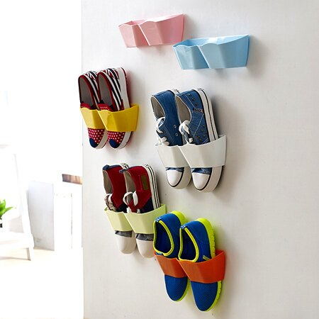 創意糖果色壁掛式鞋架 牆壁黏貼式 牆面 鞋掛 鞋牆 鞋櫃 收納【N201374】