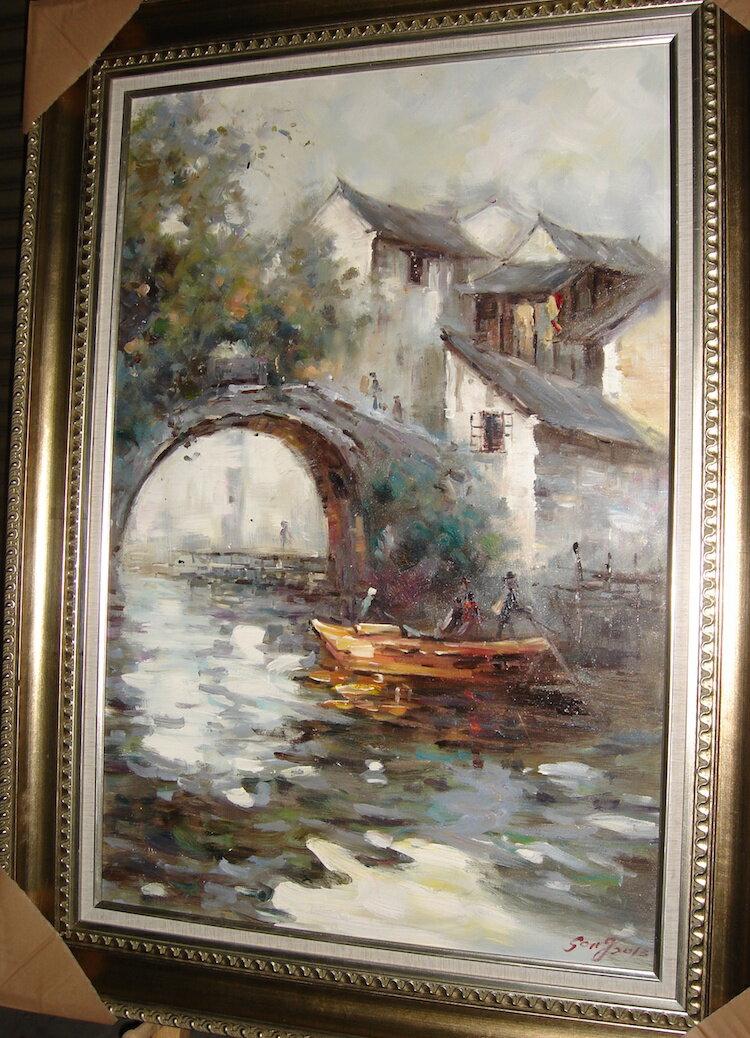 聚鯨Cetacea﹡Art【寫憶江南6301047275油畫】收藏畫 裝飾畫 藝術畫