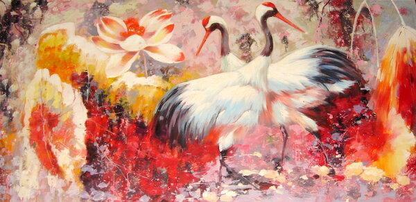 聚鯨Cetacea﹡Art【鴻運雙鶴BDQ8007027063油畫】收藏畫裝飾畫藝術畫