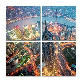 聚鯨Cetacea﹡Art【夜上海TI-5177ABCD印製畫】上海浦東 上海東方明珠塔 無框畫 裝飾畫 居家裝飾 商業空間