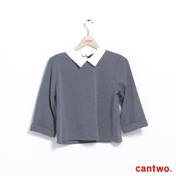 cantwo襯衫領假兩件五分袖上衣(共二色) 6