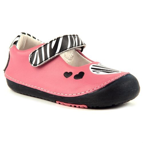 9a87f4429 Momo Baby Girls Mary Jane Leather Shoes - Zebra Hearts Pink (First Walker    Toddler